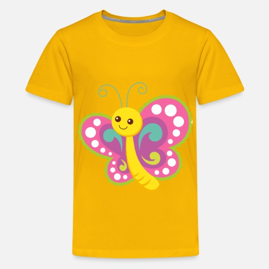 Babyproducts T-Shirts - Cute Cartoon Butterfly - Kids' Premium T-Shirt sun yellow