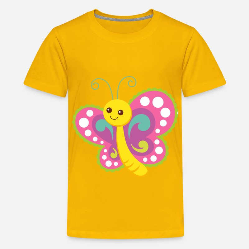 Butterfly T-Shirts - Cute Cartoon Butterfly - Kids' Premium T-Shirt sun yellow