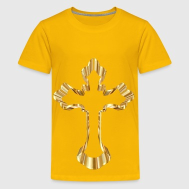 Gold Ornate Cross No Background - Kids' Premium T-Shirt