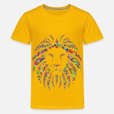 Background Color Colorful Lion Circles No Background - Kids' Premium T-Shirt