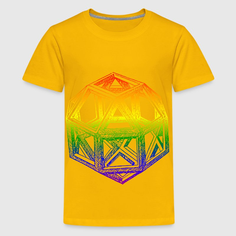 Rhombicuboctahedron, by Leonardo da Vinci, in a Blend of Rainbow Colors - Kids' Premium T-Shirt