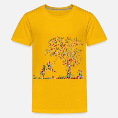 Chromatic Chromatic Tiled 3 Girls Playing Vintage Silhouette - Kids' Premium T-Shirt