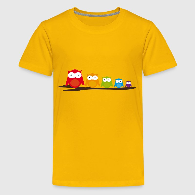 Five colorful owls - Kids' Premium T-Shirt