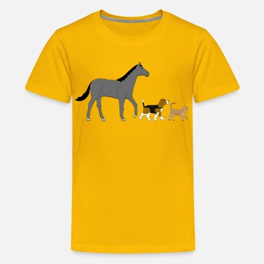 Cat And Horse horse dog and cat - Kids' Premium T-Shirt