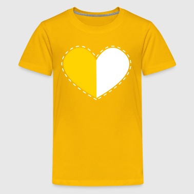 a heart divided with stitches - Kids' Premium T-Shirt
