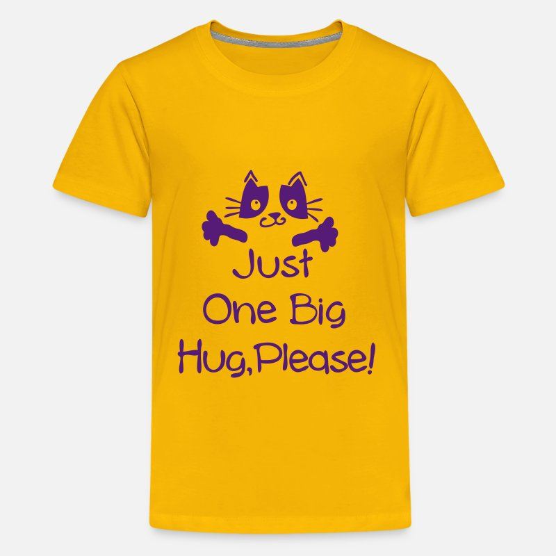 Meow T-Shirts - just one big hug please - Kids' Premium T-Shirt sun yellow