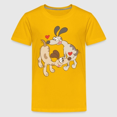 Dogs Falling in Love by Sniffing Butts - Kids' Premium T-Shirt