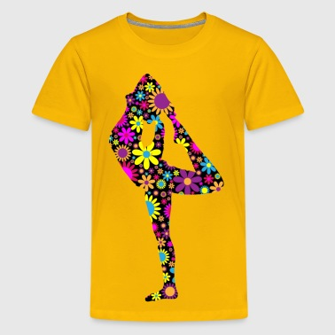 Floral Female Yoga Pose Silhouette 3 - Kids' Premium T-Shirt