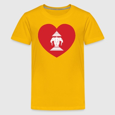 Laotian Erawan 3 Headed Elephant Heart Flag - Kids' Premium T-Shirt