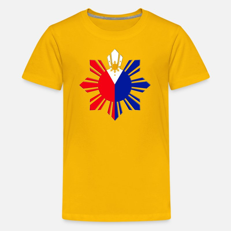 Filipino T-Shirts - Pinoy Sun Flag - Kids' Premium T-Shirt sun yellow