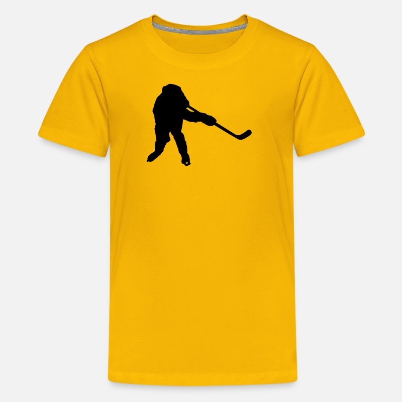 Hockey Stick T-Shirts - hockey player silhouette - Kids' Premium T-Shirt sun yellow