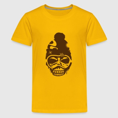 A skull with  snowboard goggles and a cap - Kids' Premium T-Shirt