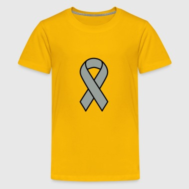 Brain Cancer Awareness Grey Brain Cancer Ribbon - Kids' Premium T-Shirt