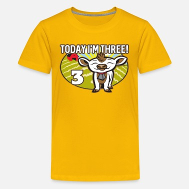 Cute Cow Kids 3rd Birthday T-Shirt Today I'm Three Cute Cow - Kids' Premium T-Shirt