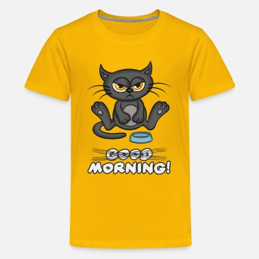 Morning Black Cat Good Morning - Kids' Premium T-Shirt