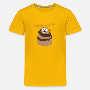 Happy Birthday - kitten on chocolate cake - Kids' Premium T-Shirt
