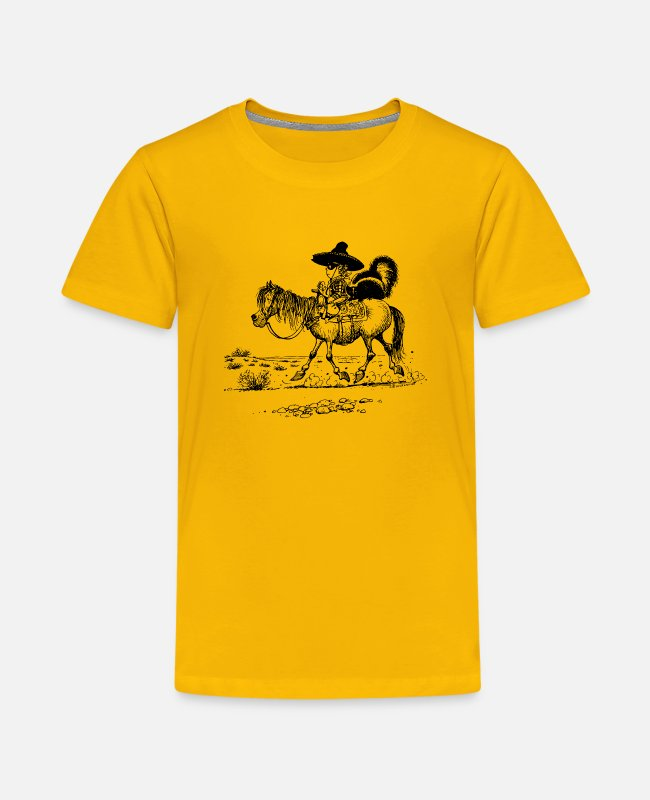 Riding Academy T-Shirts - Thelwell Bandit With Cute Skunk And Horse - Kids' Premium T-Shirt sun yellow