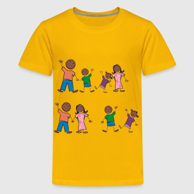 Black Stick Figure Family - Kids' Premium T-Shirt