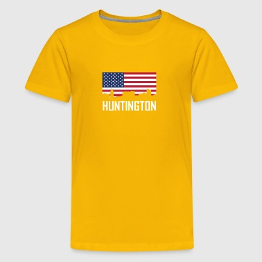 Huntington West Virginia Skyline American Flag - Kids' Premium T-Shirt