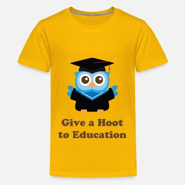 Cute Graduation cute blue owl with graduation hat - Kids' Premium T-Shirt