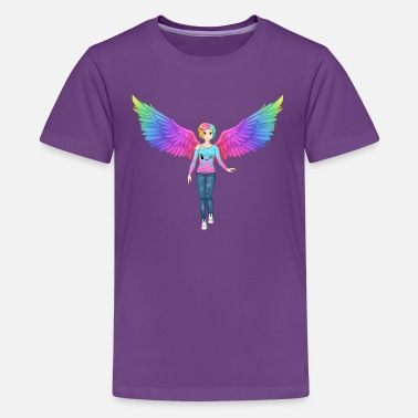Youtuber Angels Colorful Rainbow Angel Anime Girl - Kids' Premium T-Shirt