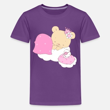 Teddy Bear Sleep Bear princess sleeping on cloud - Kids' Premium T-Shirt