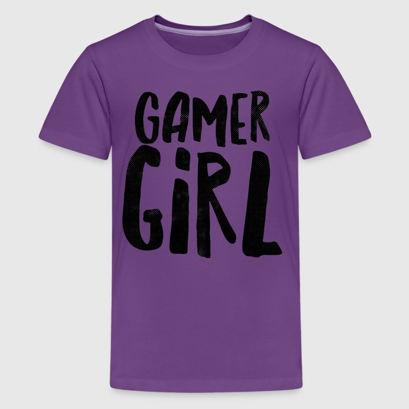Black Grunge Gamer Girl - Kids' Premium T-Shirt