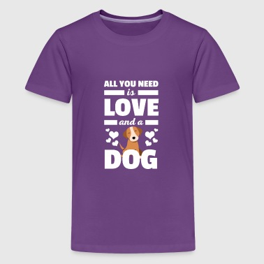 Cute All You Need is Love and A Dog Tshirt - Kids' Premium T-Shirt