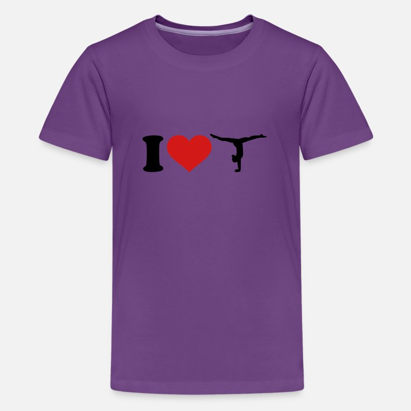 Girl T-Shirts - I love Gymnastics - Kids' Premium T-Shirt purple