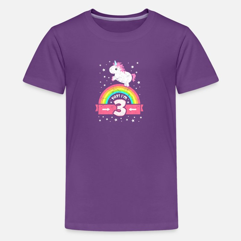 Birthday T-Shirts - Cute 3rd Birthday Unicorn Kid Girl Age 3 Years Old - Kids' Premium T-Shirt purple