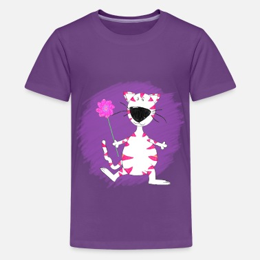 Scribbles Crayon Style Pink Striped Cat with Purple Girls - Kids' Premium T-Shirt