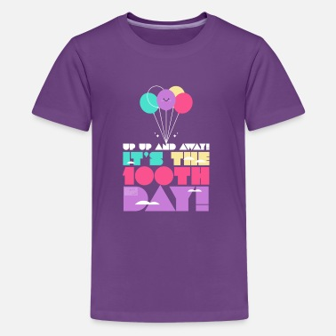 3bdf5b5f 100 Days Of School Cute Colorful Up and Away Balloon 100 Days of Scho -  Kids&. Kids' Premium T-Shirt