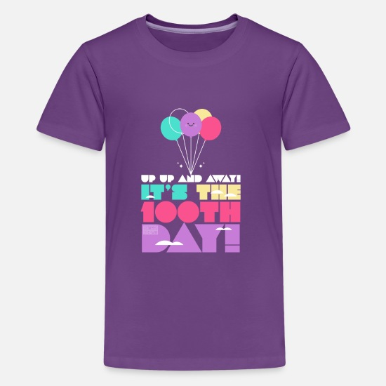 School T-Shirts - Cute Colorful Up and Away Balloon 100 Days of Scho - Kids' Premium T-Shirt purple