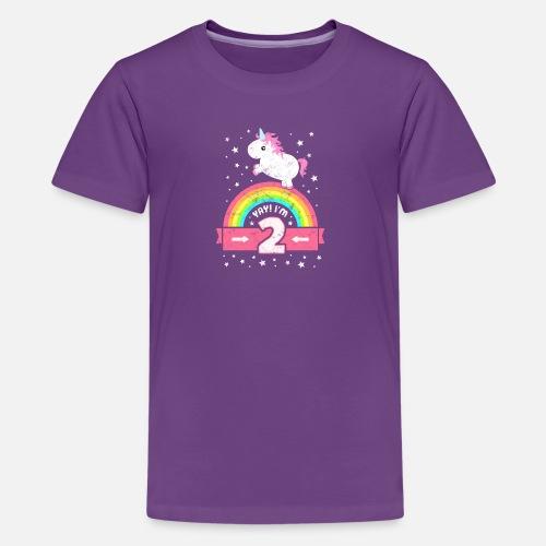 Kids Premium T ShirtCute 2nd Birthday Unicorn Kid Girl Age 2 Years Old