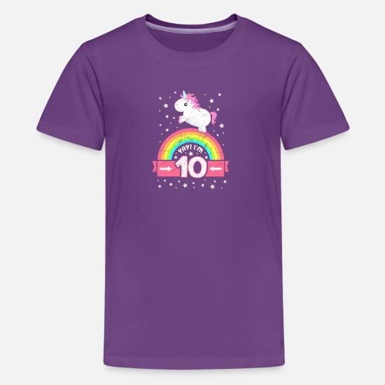 54d8feb98 Kids' Premium T-ShirtCute 10th Birthday Unicorn Kid Girl 10 Years Old