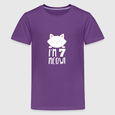 Cute Bday Cat Kitten Im 7 meow 7th Birthday Gift - Kids' Premium T-Shirt