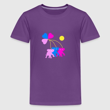 Three hearts and three elephants - Kids' Premium T-Shirt