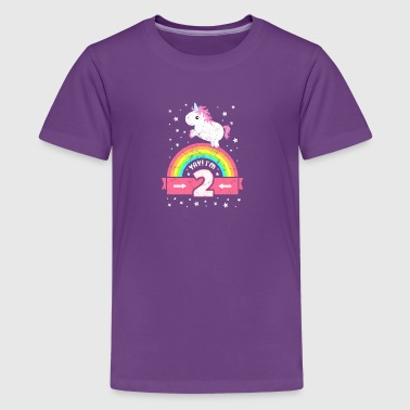 Cute 2nd Birthday Unicorn Kid Girl Age 2 Years Old - Kids' Premium T-Shirt