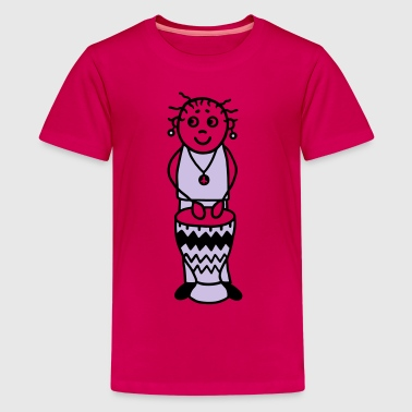 Drummer woman with Djembe - Percussion - V2 - Kids' Premium T-Shirt