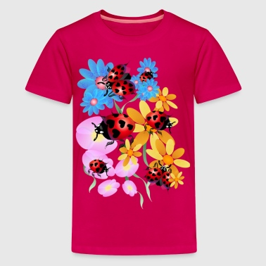 Flowers Lucky-Love Lady Bugs - Kids' Premium T-Shirt
