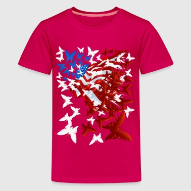 Red White And Blue The Butterfly Flag - Kids' Premium T-Shirt