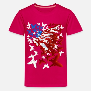Stars And Stripes The Butterfly Flag - Kids' Premium T-Shirt