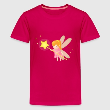 cute magical fairy with star wand, fantasy - Kids' Premium T-Shirt