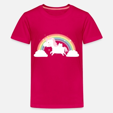 Cotton Cute Unicorn and Rainbow - Kids' Premium T-Shirt