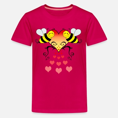 Bee Bumble Bees With Hearts - Kids' Premium T-Shirt