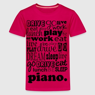 Piano Music Word Cloud - Kids' Premium T-Shirt