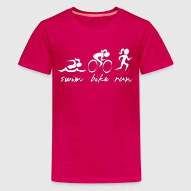 Swim Bike Run Girl - Kids' Premium T-Shirt