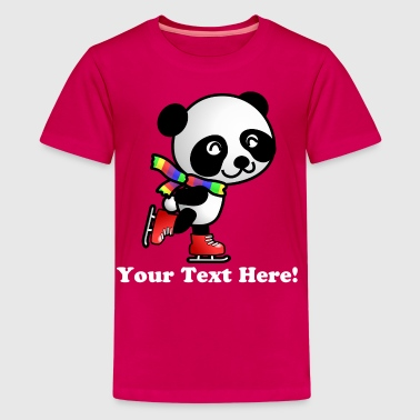 Cute Skating Kawaii Cartoon Panda Bear with Stripe - Kids' Premium T-Shirt