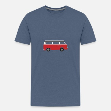 Van Flat Design - Red Camper Old Timer - Gift Idea - Kids' Premium T-Shirt