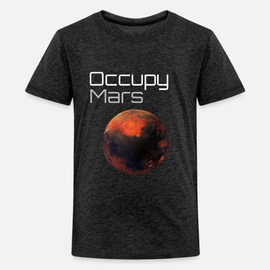 Occupy T-Shirts - Occupy Mars Space - Kids' Premium T-Shirt charcoal gray